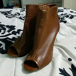 Shoes - Brown Peep Toe Booties, Size 7.5